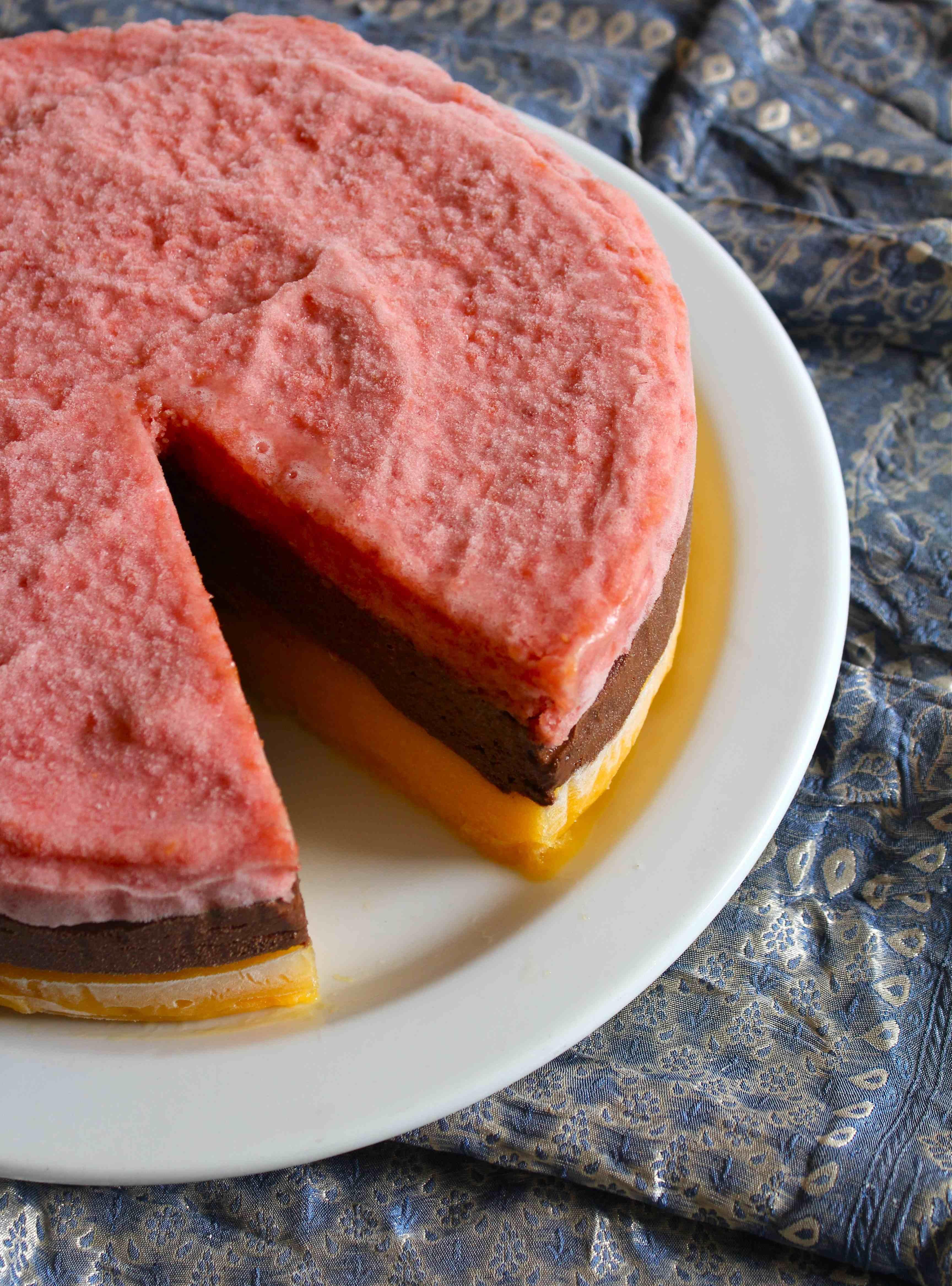Mango, Peach and Chocolate Sorbet Layer Cake